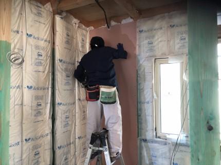 郡山市大槻町の新築住宅での石膏ボード施工 | 郡山市 新築住宅 大原工務店のブログ