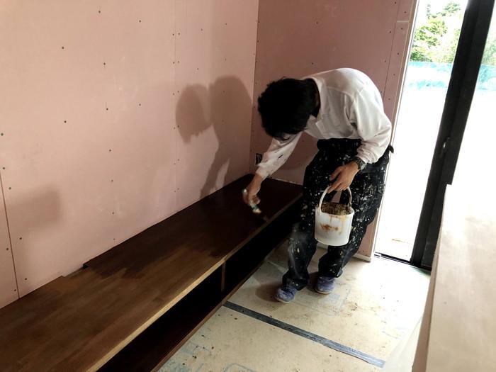 2度目の塗装をしていきます。郡山市片平町O様邸  郡山市 新築住宅 大原工務店のブログ