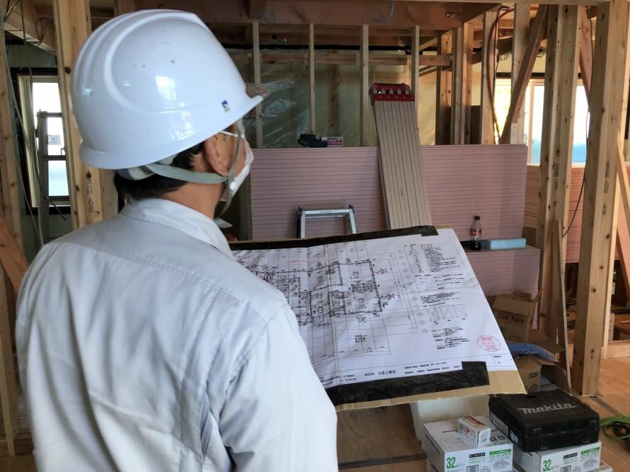 図面通りに施工されているかをチェック|郡山市 新築住宅 大原工務店のブログ