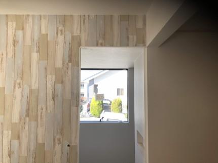 リビングのクロス張り分けです。本宮市葭ヶ入| 郡山市 新築住宅 大原工務店のブログ