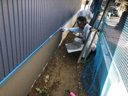 新築基礎のモルタル刷毛引きです。|郡山市 新築住宅 大原工務店のブログ