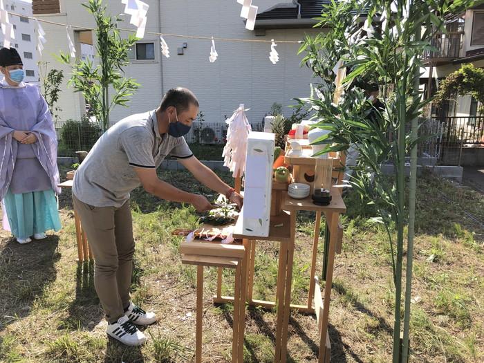地鎮祭の玉串奉奠です。|郡山市 新築住宅 大原工務店のブログ