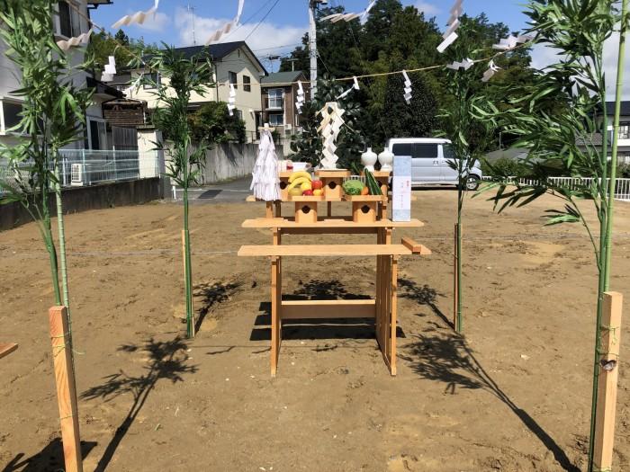 新築注文住宅H様邸、地鎮祭の祭壇を準備しました。須賀川市和田| 郡山市 新築住宅 大原工務店のブログ