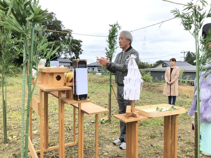 地鎮祭の玉串奉奠です。