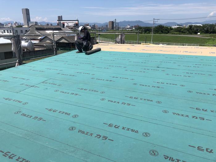 ルーフィングの敷き込みです。|郡山市 新築住宅 大原工務店のブログ