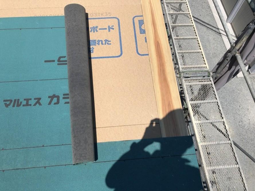 ルーフィングの重ね幅チェックです。|郡山市 新築住宅 大原工務店のブログ