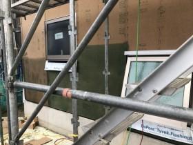 面材耐力壁と水切りシートが施工されたところです。郡山市富田町T様邸| 郡山市 新築住宅 大原工務店のブログ