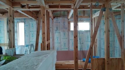 グラウスールの断熱材施工中です。田村郡三春町|郡山市 新築住宅 大原工務店のブログ