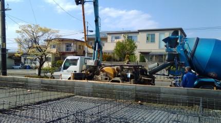 郡山市 新築 基礎工事 ベースコンクリート打設