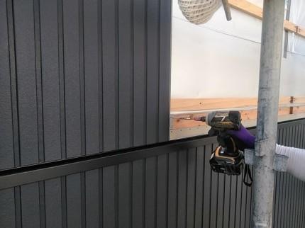 通気金物工法の外壁施工です。