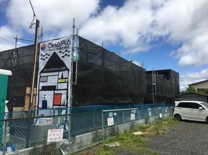 平屋のモデルハウスでは、足場シートがかけられております。郡山市安積町|郡山市 新築住宅 大原工務店のブログ