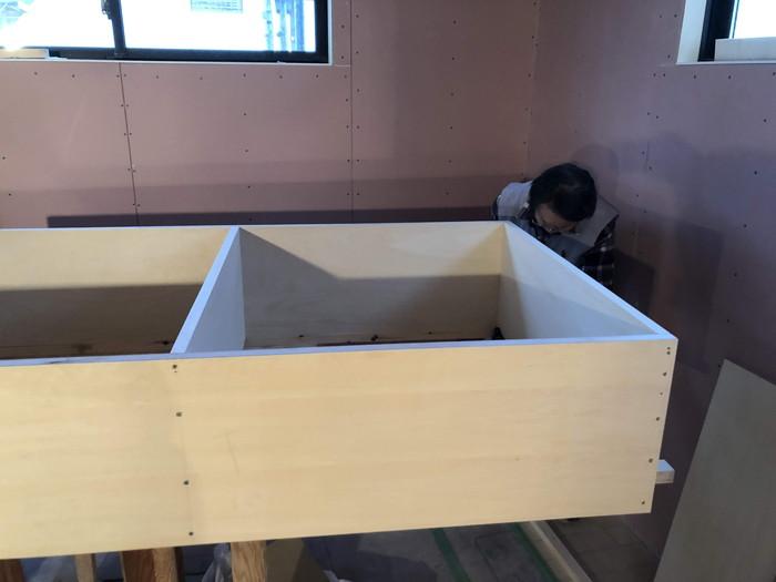 カウンター収納造作です。|郡山市 新築住宅 大原工務店のブログ
