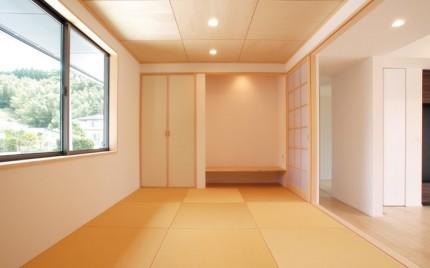 回遊性のある間取りで居心地のよい平屋-和室-|郡山市 注文住宅 大原工務店 施工例