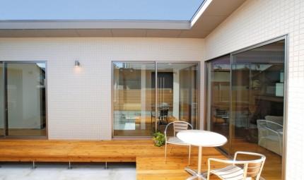 光と風をとりこみ、外部の視線を遮る、中庭のある平屋