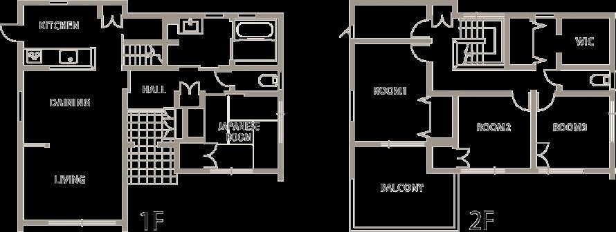 白を基調とした美しい外観のおしゃれなモダンハウス-間取り-|郡山市 注文住宅 大原工務店の施工例