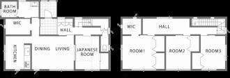 シンプルな切妻屋根で北側ファザードをデザインする注文住宅~間取り~|郡山市 注文住宅 大原工務店 施工例