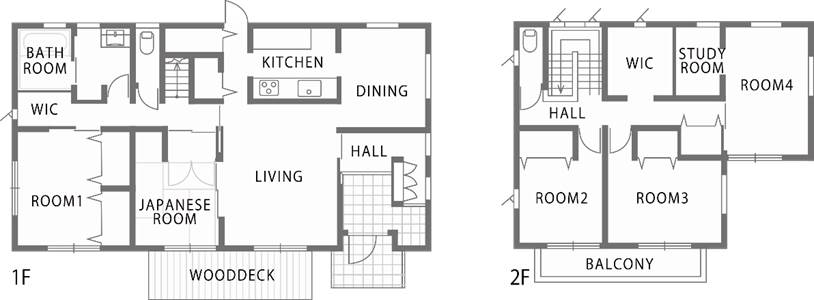 深い軒先と白と黒の外観が際立つ和テイストのパッシブデザイン住宅-間取り-|郡山市 注文住宅 大原工務店の施工例