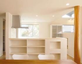 小屋裏空間とスキップフロアで構成される平屋-キッチン-|郡山市 注文住宅 大原工務店の施工例