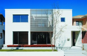 アルミ製ルーバーで洗練された注文住宅-外観-|郡山市 注文住宅 大原工務店の施工例